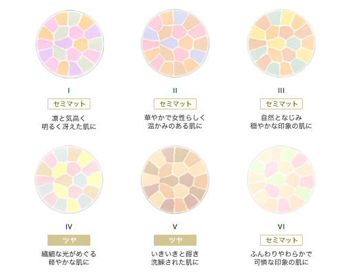 エレガンスプードルパウダーの色比較
